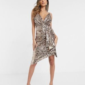 TFNC wrap front sequin dress in gold